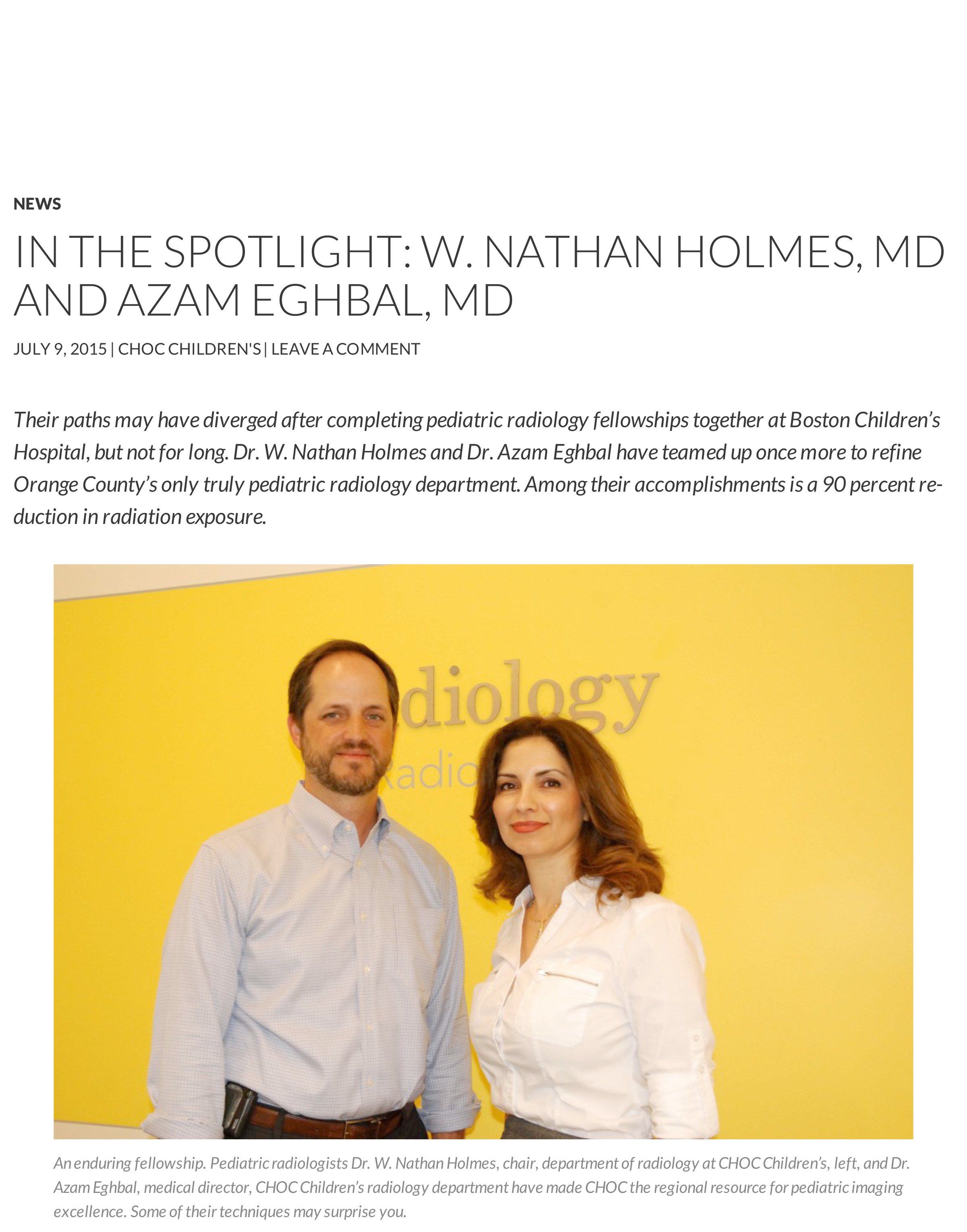 In the Spotlight_ W. Nathan Holmes, MD and Azam Eghbal, MD - CHO